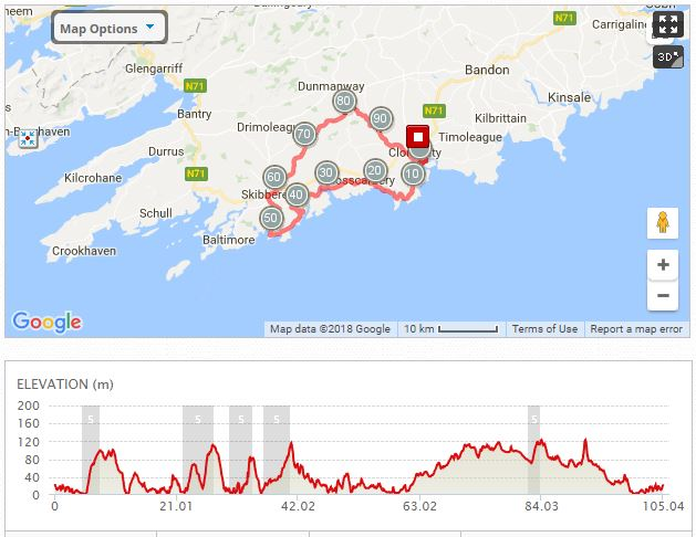West Cork 100Km map