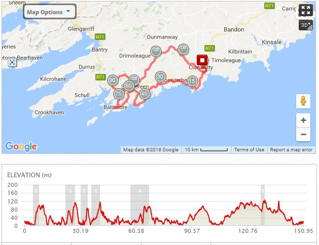 West Cork 150Km cycle map